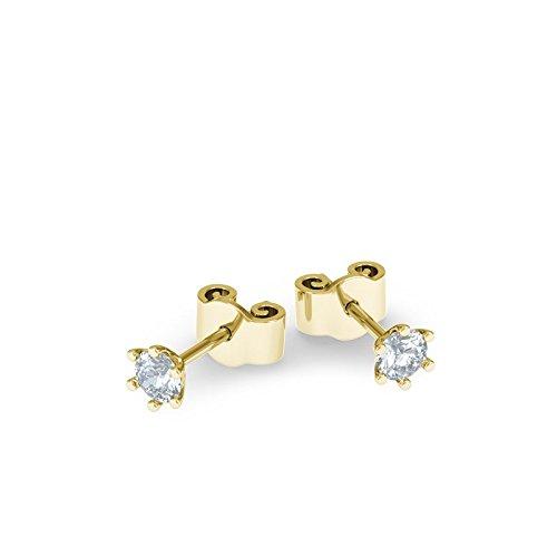 21Diamonds Damen-Ohrstecker Las Vegas mit Diamant 0.1 ct , 18 Karat (750) Gelbgold Ohrringe (Edelstein-las Vegas)