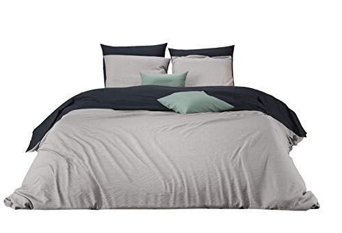 Mistral Home – Bettwäsche 155x220 cm Baumwolle + Reißverschluss zum Wenden unifarben Schwarz & Grau Wendebettwäsche einfarbig Hellgrau 2-teiliges Bettwäscheset Ganzjahr Bettbezug Übergröße