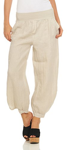 282 Damen Leinenhose lockere Freizeithose Lange 100% Leinen Hose Uni Stoffhose Elegante Haremshose mit Knöpfen einfarbig Beige L