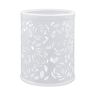 Ciaoed Hollow Blume Metall Schreibtisch Stift Halter Organizer Behälter Weiß