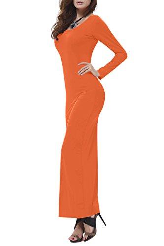 YMING Damen Herbst Langarm Kleid Cocktail Abendkleider Strandkleid Frühling Maxikleider Orange