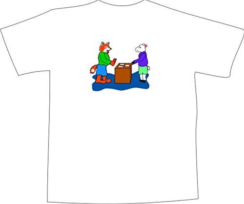 T-Shirt E836 Schönes T-Shirt mit farbigem Brustaufdruck - Logo / Grafik - Comic Design - Fuchs kauft bei Schaf Weiß