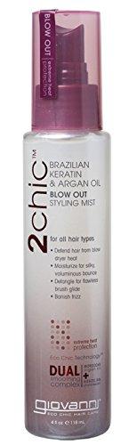 Giovanni Hair Care Products Spray coiffant spécial volume à base de kératine du Brésil et d'huile d'argan formule 2Chic) , 120 ml
