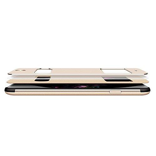 Oats Premium Case OKCS für iPhone 7 Schutzhülle Aluminium Vorder & Rückseite - Sichtfenster Hülle Hard Cover Flip Back Case Tasche - Silber Gold iPhone 7 Plus