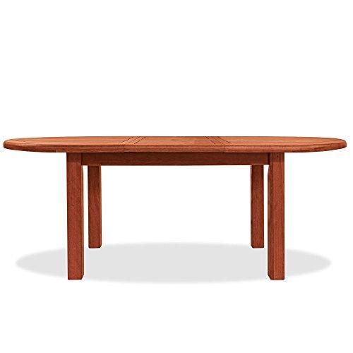 Table ovale en bois naturel mod. Tubéreuse 150/200 x 100 x 72 cm, table de jardin en Keruing à transformation artisanale, table de bois dur usage extérieur, table en bois de keruing extensible jusqu'à 200 cm