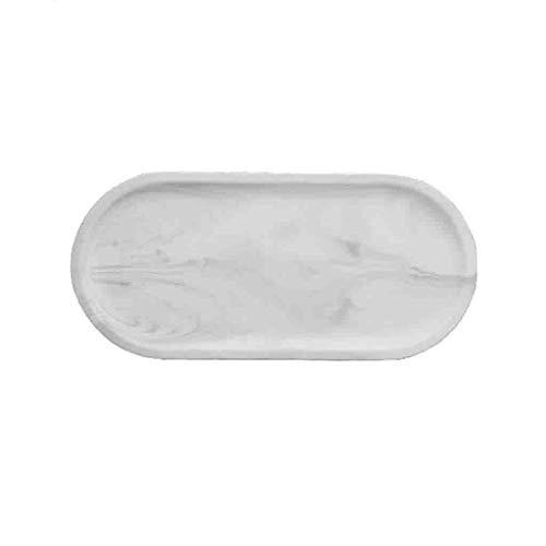 C-J-Xin Assiette en céramique, plateau de texture en marbre Biscuits en plaque ovale Dessert Salade de fruits Gâteau Assiette de famille Assiette de spaghetti plat de fruits