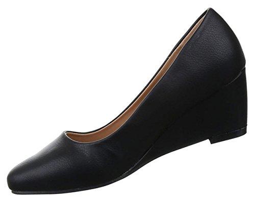 Damen Pumps Schuhe Keilabsatz Sandaletten Wedges Schwarz beige 36 37 38 39 40 41 Schwarz