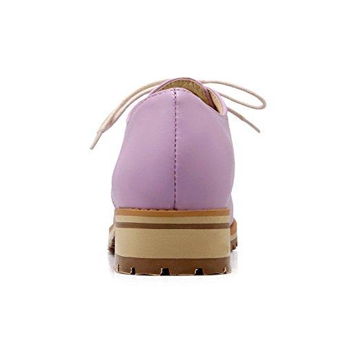 VogueZone009 Femme à Talon Bas Couleur Unie Lacet Matière Souple Rond Chaussures Légeres Violet