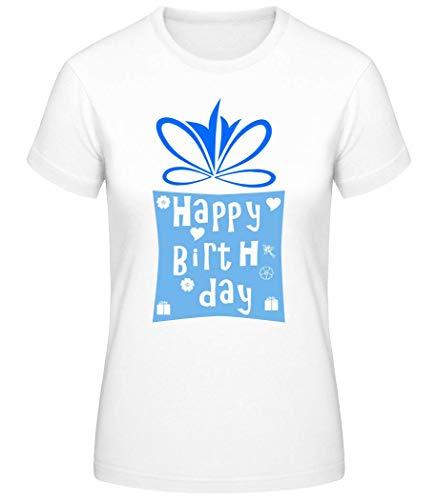 Shirtinator Frauen Basic T-Shirt   Happy Birthday Logo   Geschenke Lustig (Weiß, L)