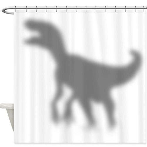 xuewu Dinosaurier Velociraptor Silhouette Dekorative Stoff Duschvorhang Set rutschfeste Badematte Set für Fußmatte Outdoor