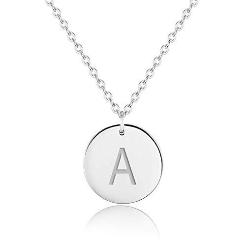 URBANHELDEN - Buchstaben-Kette - Silber Damen-Kette mit deinem Wunschbuchstaben - Wunschgravur Alphabet - Personalisierte Buchstabenkette - Schmuck Silber - Buchstabe A