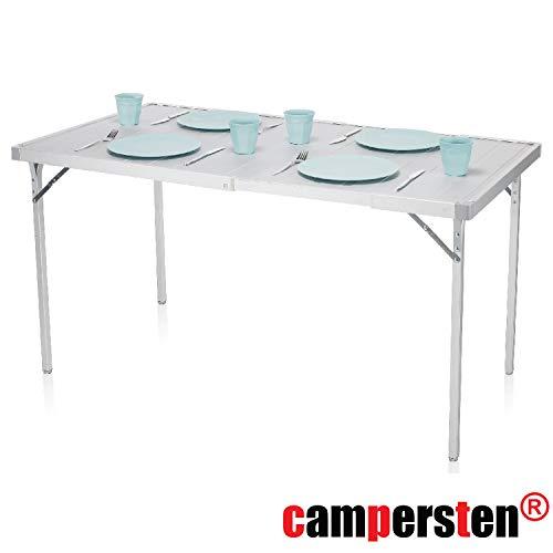 campersten Alu-Campingtisch   Ausziehbare Tischplatte von 94cm auf 127cm   Geringes Eigengewicht   Witterungsbeständig   Klappbar