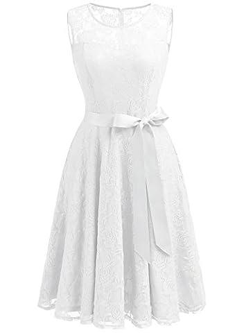 Dressystar DS0009 AbendKleid Ärmellos Kurz Brautjungfern Kleid Spitzen Rundhals Damen Kleider Weiß