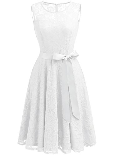 Dressystar DS0009 Abendkleid Ärmellos Kurz Brautjungfern Kleid Spitzen Rundhals Damen Kleider Weiß XXL