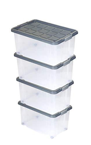 BigDean 4 Stück Große Eurobox mit Deckel und Rollen Aufbewahrungsbox 60 X 40 X 32,5 cm stahlgrau