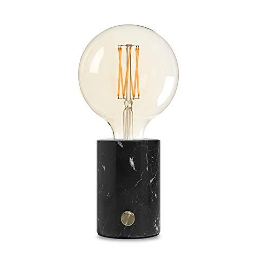 Edgar - Orbis Lamp, dimmbare Tischlampe, Tischleuchte, Nachttischlampe aus Marmor mit integriertem Dimmer aus Metall, inkl. LED Glühbirne, Black Marble -