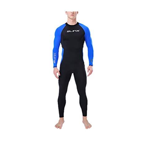 EUCoo_ Wetsuit Herren-Taucheranzug Siamese Langarm-Reißverschluss mit Warmer UV-Schutz-Schwimmanzug(Blau, M)