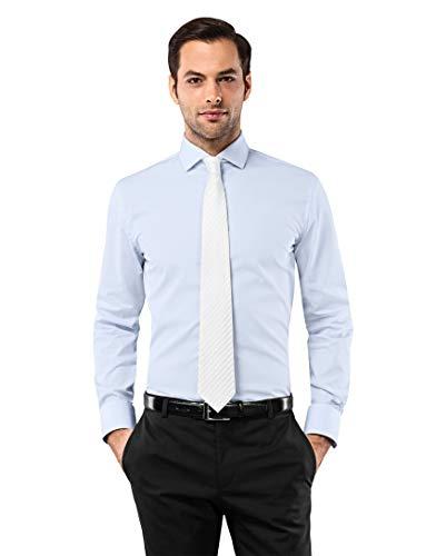 Vincenzo boretti camicia uomo eleganti, taglio aderente/slim-fit, colletto francese, manica lunga, in tinta unita - non stiro/non-iron azzurro 41/42