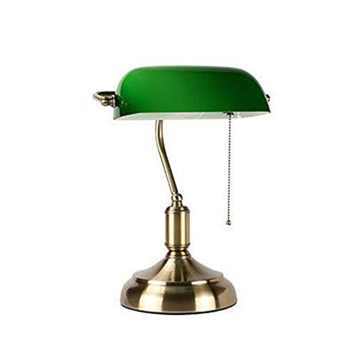 MICOKY Tisch Lampe traditionellen antiken Banker Schreibtisch Leselampe mit grünen Glas Schatten E27 -