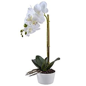 Famibay Orquídeas Artificiales con Maceta Blanca Flores Orquideas Planta Flores de Phalaenopsis para Decoración del…