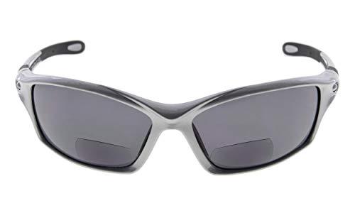 Eyekepper TR90 Rahmen Bifokal Sport Sonnenbrille Baseball Laufen Angeln Fahren Golf Softball Wandern Leser (Perliges Silber, 2.00)