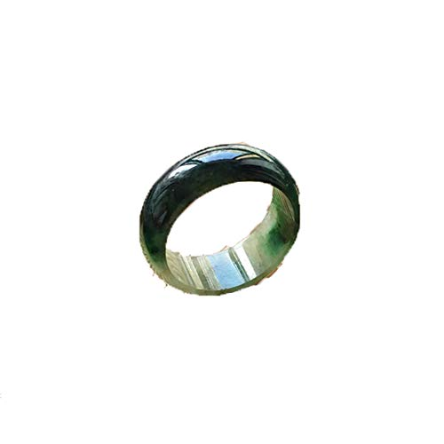 KTT Fengshui natürliche Smaragd Jade Ring chinesischen Edelstein Heilenergie Reichtum viel Glück 19,1 mm anziehen