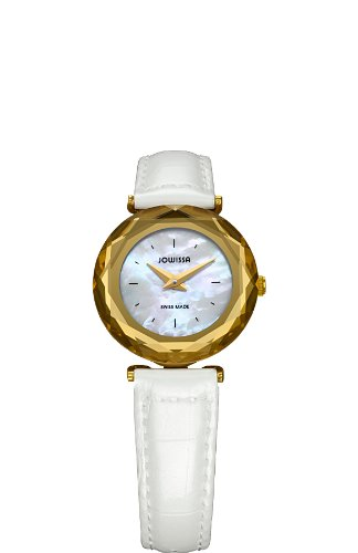 Jowissa Safira 99 Women's Quartz Watch with Mother of Pearl Dial Analogue Display and White Leather Strap J1.003.S
