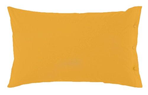 Federa zucchi clic clac con bottoni in percalle di puro cotone cm 50 x 80 100% made in italy (giallo - 1465)
