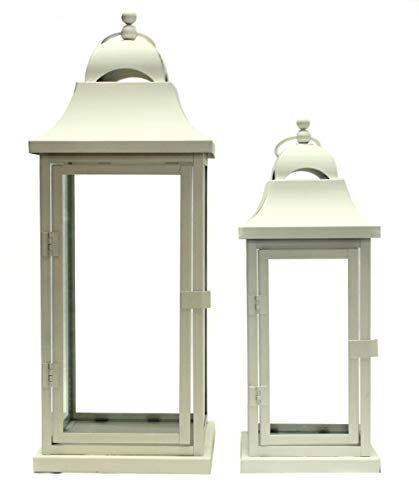 Set di 2 lanterne alte in metallo e vetro Cream Set 2