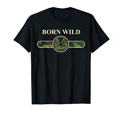 Born Wild Cheetah Tiger Lion Leopard Cat Camouflage Fashion T-Shirt (Für Cheetah Kleidung Kinder)