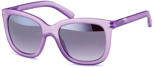 Retro transparente Sonnenbrille im trendigen 70er Style, mattes Gestell in Flieder-transparent, Brillentrends