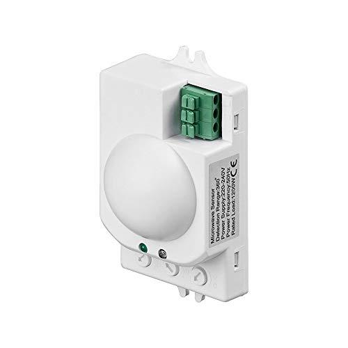 Goobay 96011 - Bewegungsmelder Mikrowellen (Radar) Sensor unterputz, 8m Reichweichte, weiß