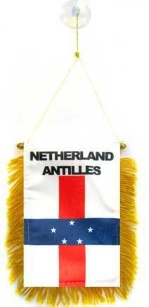 AZ FLAG Fanion Antilles néerlandaises 15x10cm - Mini Drapeau hollandais 10 x 15 cm spécial Voiture - Bannière