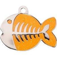 Bow Wow Meow Personalizado Chapa identificativa para Gatos con forma de Pez en color Naranja Azul (Pequeño) | SERVICIO DE GRABADO