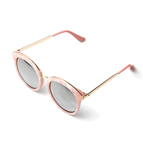 accessoryo-damen-rosa-marmor-effekt-ubergrosse-runde-sonnenbrille-mit-gold-arme-und-silber-revo-lins