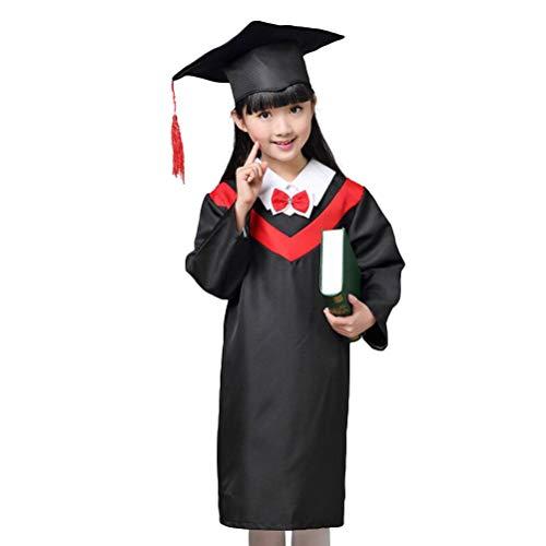 Amosfun 1 Satz Kinder Abschlusskleid Mantel Robe Cap Cosplay Kostüme für Kinder Kinder (Roter Kragen Mit Kappe und Zertifikat 110 ()
