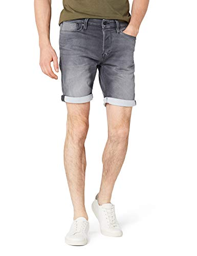 JACK & JONES Herren Shorts JJIRICK JJICON GE 443 I.K. STS, Grau Grey Denim, 48 (Herstellergröße: S)