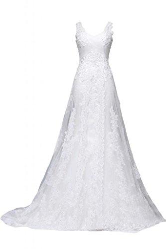 Sunvary 2014nuovo colore bianco lungo abito da sposa A-Line pizzo Spaghetti cinghie senza maniche White 24W
