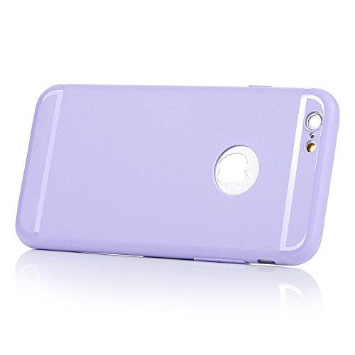 YOKIRIN Coque iPhone 6 4.7 Pouces Housse Étui TPU Silicone Souple Découp du Logo Phone Case Cover Ultra Mince Gel Slim Personnalité Pratique - Rose + Beige Violet + Beige