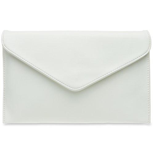 CASPAR TA310 Damen Envelope Clutch, Farbe:weiss - Hochzeit Clutch