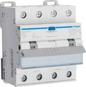 Hager FI/LS-Schalter ADX466D 4-polig, 10kA Kombination FI-Schalter/Leitungsschutzschalter 3250611017042