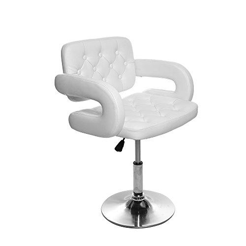 Chaise Fauteuil de Coiffeur Salon de Coiffure pour Barbier Pompe Hydraulique Pivotante 360° Simili Cuir Blanc