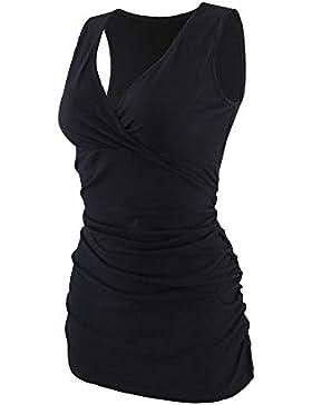 [Sponsorizzato]ZUMIY Top Maternità e Prémaman, Cotone V Neck Donna Increspato Camicia di Maternità Vita/Gravidanza T-Shirt