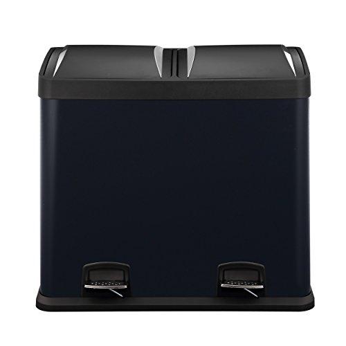 Mari Home - papelera de reciclaje, color negro, plateado, Cubo de basura 48 litros, de acero, 2 en 1, con apertura de pedal, para cocina y desechos ecológicos