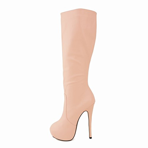 HooH Femmes Round-toe Platform Stiletto Plus Genou Boots Rose