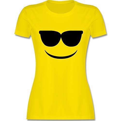 Karneval & Fasching - Sonnenbrillen Emoji Karneval - M - Lemon Gelb - L191 - Damen Tshirt und Frauen T-Shirt