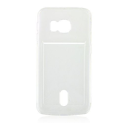 Wkae Case Cover Für Samsung Galaxy S6 Rand / G925 Ultradünner TPU Fall mit Karten-Slot ( Color : Green ) Transparent