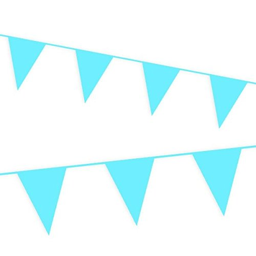 Haza Hellblaue Wimpelkette,10m für Kindergeburtstag Junge,Pullerparty Oder Babyshower