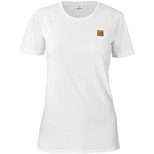 urban air   StyleFit   T-Shirt   Damen   Sport , Freizeit   100% Baumwolle, Leder-Patch, Rundhals, Kurzarm   schwarz, hell/ dunkel grau, weiß   S, M, L, XL   (M, Classic weiß)