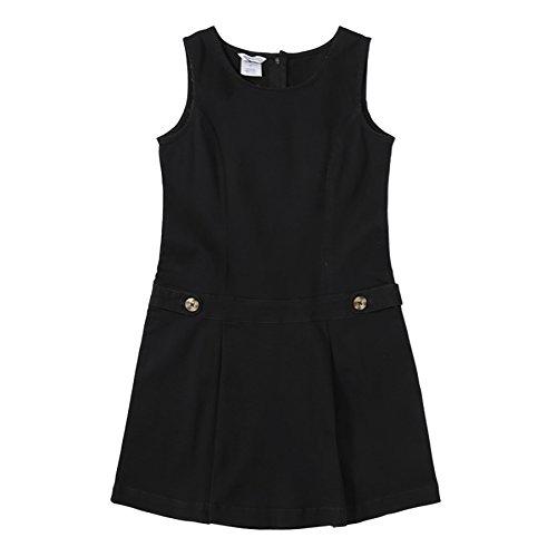 Bienzoe Mädchen Baumwoll Dehnbar Köper Schuluniformen Jumper Kleid Schwarz Größe 12